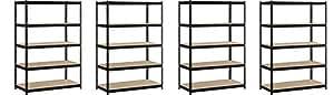 "EDSAL Heavy Duty Garage Shelf Steel Metal Storage 5 Level Adjustable Shelves Unit 72"" H x 48"" W x 24"" Deep (4 Pack)"