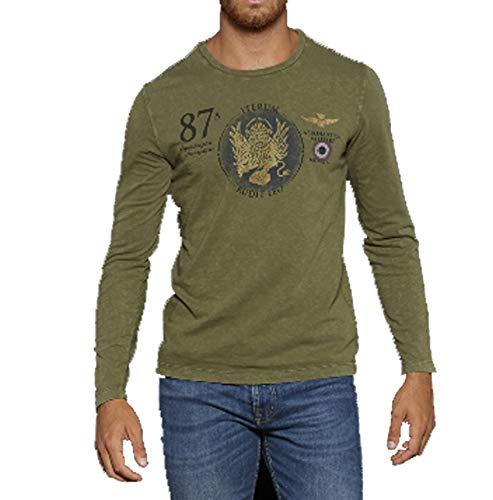 manga de Camiseta hombre Verde Salvia larga Militare para 07209 Aeronautica qStBFF