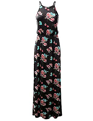 Doublju Stretchy Side Slit Halter Neck Maxi Dress For Women With Plus Size (Made In USA)