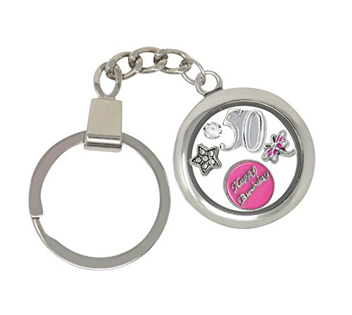 50th Birthday Gift Floating Memory Charm Key Ring With Crystals from Swarovski Gift Boxed (50th) (Ring Key Keychain Swarovski Crystal)