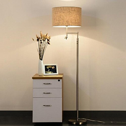 (Lighting Groups New Cloth Shade Metal Floor Lamp Simple Modern Living Room Bedroom High-end Hotel Nordic Led Reading Lamp-Tall Standing Pole Lamp Light for Dorm, and Office (Linen))