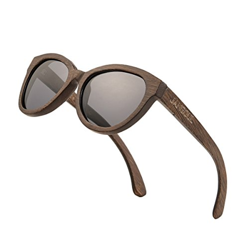 9c68c367cf Polarized Sunglasses Bamboo Wood Frame For Women with UV400 Lens JANGOUL  (Bamboo Frame