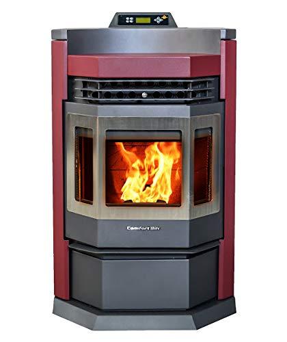 Comfortbilt Pellet Stove-HP22-N 50,000 btu - Burgundy - 80 Lb Hopper w/Stainless Steel Door Trim ()