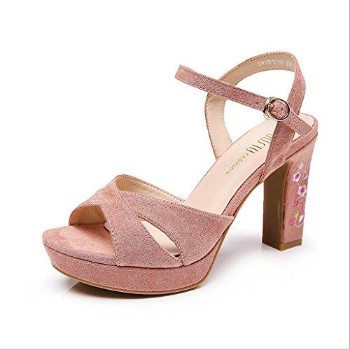 Fresh Doux Sandales Épais Summer Noir Chaussures Couleur Heel Jingsen brodé Dames Rose High 36 Taille Chaussures 5Sg1xw