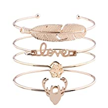 Molyveva 4Pcs Exquisite Couple Cuff Bracelet, Alloy Love Feather Snowflake Elk Bangle Love Themed Jewelry