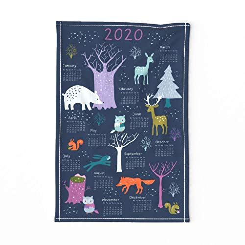 Spoonflower Tea Towel 2020 Calendar Woodland Animal Forest Bear Deer Fox Blue Purple Linen Cotton