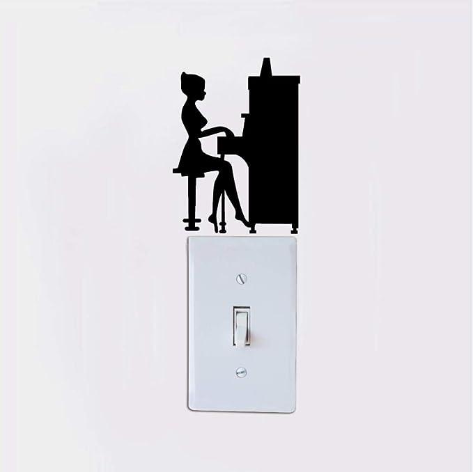 Etiqueta de la pared Pegatina Apliques Chica tocando la silueta del piano pegatina de interruptor de luz - etiqueta ...