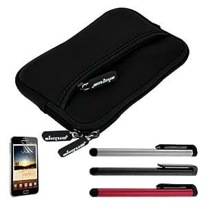 Skque funda negro de neopreno + Protector pantalla + 3 lapices Samsung Galaxy Note N7000