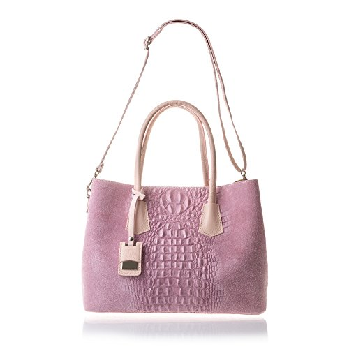 Gamuza Made Vera detalles Rosa In Genuino Color Acabado Tote Dollaro 35x25x16 bolso Cuero Pelle Italiana Lacado bolso Grabado Firenze Azul Artegiani Piel De Auténtica Mujer Cocodrilo Italy Cm RxvnpwT6qU
