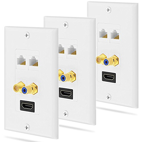 - Fosmon Gold Plated HDMI with Ethernet/RCA Mono Audio/F Connector Coaxial/Dual Ethernet Combo Wall Plate Face Cover for HDTV, Home Theater, DVD, Cable Satellite, PS3/PS4, Nintendo Switch - 3 Pack
