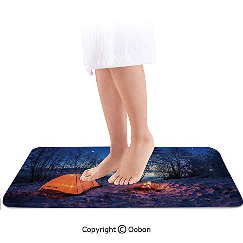 - Apartment Decor Bath Mat,Dark Night Camping Tent Photo in Winter on Snow Covered Lands by The Lake,Plush Bathroom Decor Mat with Non Slip Backing,32 X 20 Inches,Blue Orange