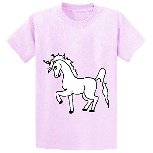 Mcol Unicorn White Right Boys' Crew Neck Customized Shirts Pink