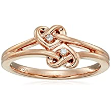 10k Rose Gold Diamond Accent Double Heart Knot Ring, Size 7