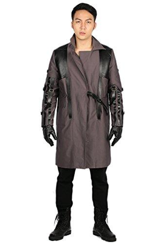 Adam Jensen Trench Coat Jacket Costume for Halloween Cosplay Grey (Adam Jensen Costume)