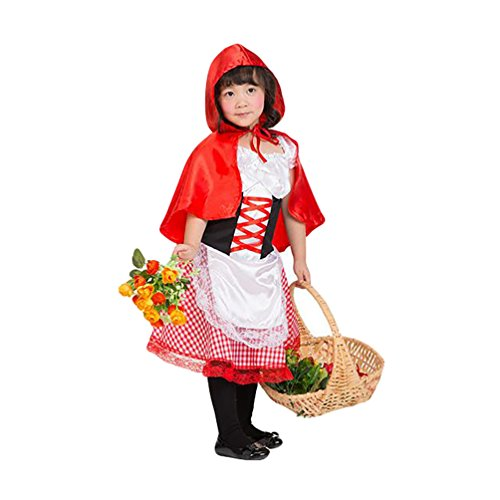NiSeng Little Red Riding Hood Costume Halloween Costumes Girls Red L(5-6 Years) (Little Red Riding Hood Costume For Kids)