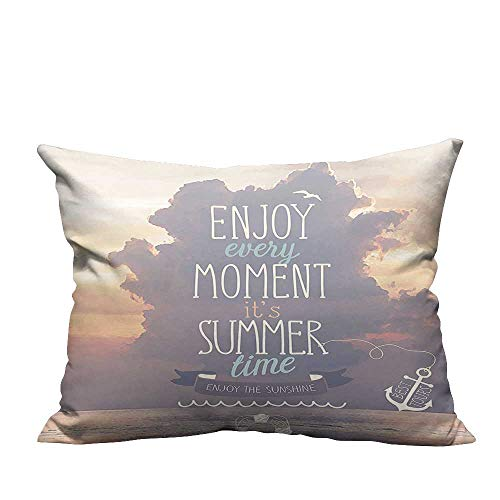 YouXianHome Modern Fashion Cushion Cover Quotes Vacations Getaways Dream Words Summer Time House Ideas Wall Photo Art Resists Dust Mites(Double-Sided Printing) 19.5x54 -