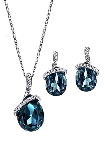 Neoglory-SWAROVSKI-Elements-Conjunto-de-Joyas-Mujer-Collar-Colgante-Pendientes-Genuino-Cristal-Austriaco-Azul-Rojo-Chapado-en-Oro-Blanco-Joya-Original-Regalos-para-Mujer