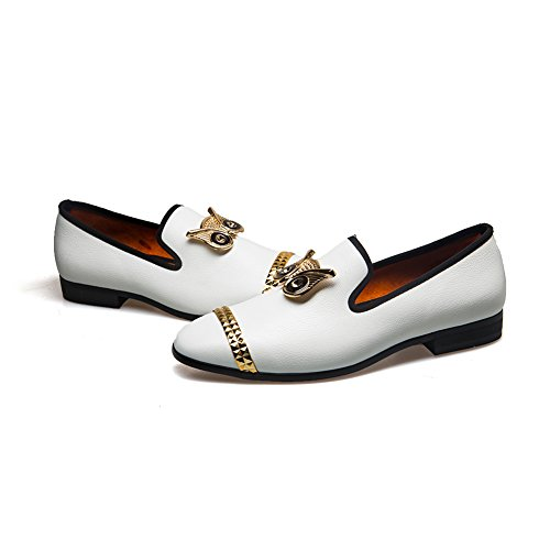 JITAI 2018 Luxury Men Loafer Patchwork of Genuine Leather and Horsehair Round Toe Slip On Dress Shoes (9 M US, WHITE-01)