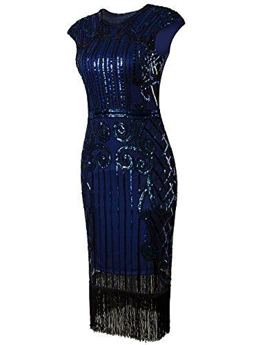 Vikoros - Vestido - Noche - Paisley - Cuello redondo - Sin mangas - para mujer Azul