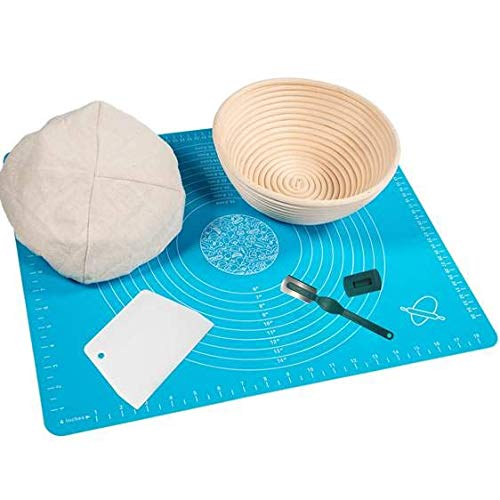 Basket Mat - Banneton Proofing Basket for Artisan Bread - 9 Inch Brotform Sourdough Bread Bowl Linen Liner Cloth Bread Lame Dough Scraper and Silicone Baking Mat with Measurements for Professional and Home Bakers