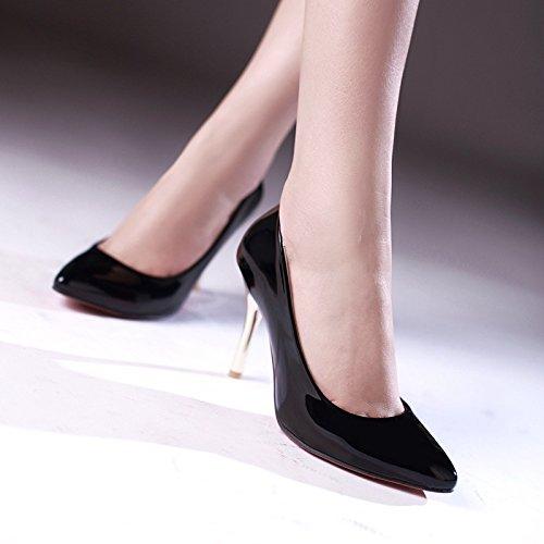 YCMDM Alta - tacco a punta sceglie i pattini Moda Scarpe casual donne a punta in pelle Nuova Primavera Autunno Moda Albicocca Bianco Rosso Nero Verde 34 35 36 37 38 39 , black , 34