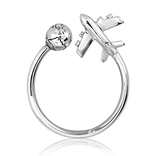 WithLoveSilver 925 Sterling Silver Key Chain Airplane and Globe Key Ring