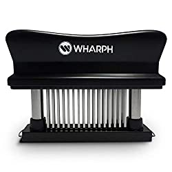Wharph Premium Meat Tenderizer Manual Hand Held Heavy Duty And Dishwasher Safe 48 Blade Stainless Steel Razor Pin Press Kitchen Tool Great For Tenderizing Beef Pork Chicken Bbq Steak Marinade