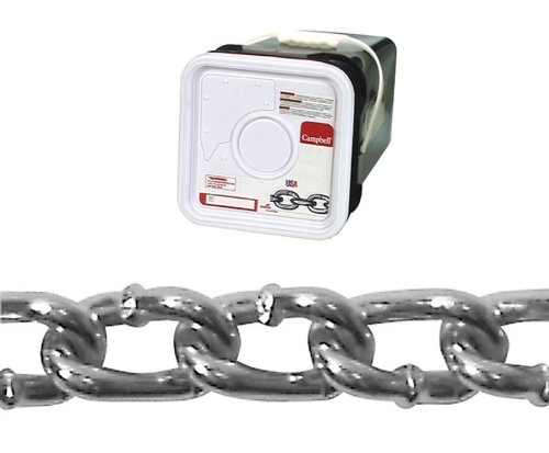 (Campbell 0322026 Low Carbon Steel Twist Link Machine Chain in Square Pail in Square Pail, Zinc Plated, 2/0 Trade, 0.18