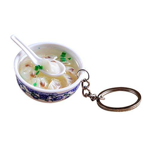 FENICAL Lifelike Food Bowl Keyrings Porcelain Mini Bag Pendant Simulation Food Charms Jewelry Creative Keychain (Dumplings)