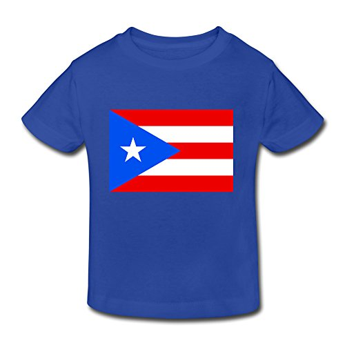 Price comparison product image Boys Girls (age 2-6) Flag Of Puerto Rico Cotton T Shirt 3 Toddler RoyalBlue