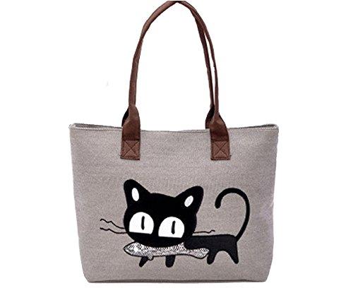 LAAT - Bolso mochila  de Lona para mujer gris