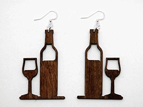 Brown Wine Bottle and Glass Wooden Earrings