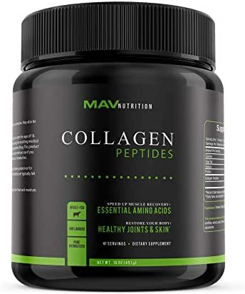 MAV Nutrition Collagen Peptide Protein Powder, Pasture-Raised & Grass-Fed, Pure Hydrolyzed, Unflavored, Non-GMO, 16oz