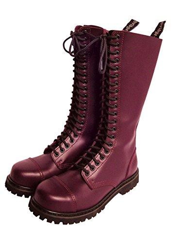 Rangers Botas Color Negro Burdeos De Granate Acero Cubierta Zapatos Agujero Con 20 Cordones O HZFw51qT