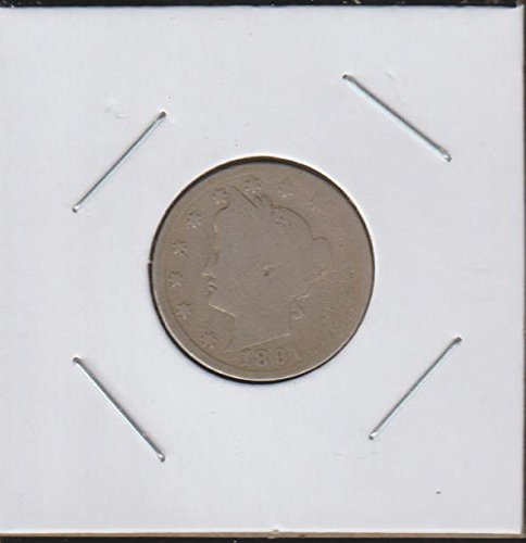"""1891 Liberty Head or """"V"""" (1883-1913) Nickel About Good"""
