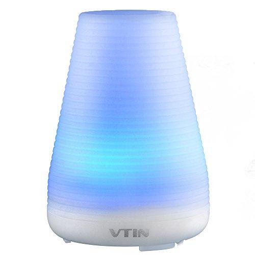 vtin 100ml Duftspender für ätherische Öle Aromatherapie/Raumduft-Diffuser/Luftbefeuchter tragbar Ultraschall Nebel feuchtem Aroma mit EU Stecker Licht LED Farbwechsel