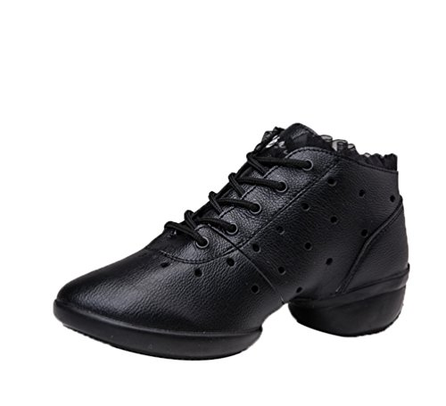 YouPue Women PU Leather Square Dance Shoes Soft Bottom Low Heel Modern Hollow Dance Sneakers Solid Color Black Hollow