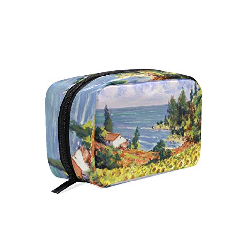 Makeup Bag Cosmetic Pouch Clutch Landscape Sea Coast Sunflower Field Painting