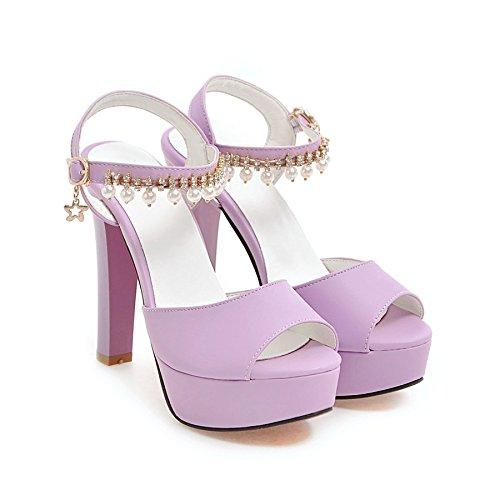 Moda Mujer verano sandalias confortables tacones altos,34 en polvo de tacón alto 9cm. purple-12 cm high heels