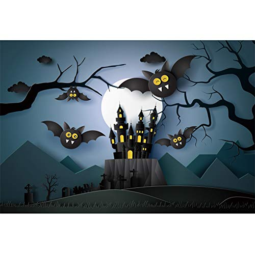Leyiyi 10x7ft Cartoon Halloween Photography Backdrops Teeth Exposed Bats Sinister Castle Moon Background Photo Studio Booth Photographer Props