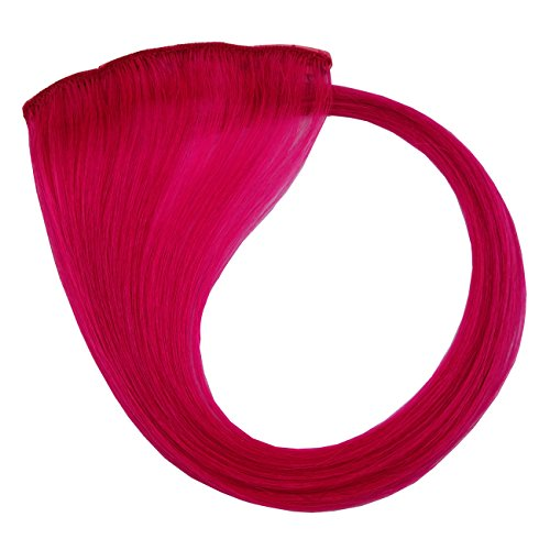 Colored Human Hair Extensions Clip On Fashion Hair Highlight for Party Cosplay DIY Holiday Hair Costume Long Straight Double Weft (Pink) - Diy Strong Woman Costume