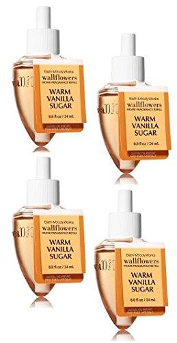 Bath and Body Works Warm Vanilla Sugar Wallflower Fragrance Refill. 4 Pack 0.8 Oz