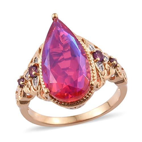 Promise Ring Quartz 925 Sterling Silver Vermeil Yellow Gold Rhodolite Garnet Jewelry for Women Size 7 Ct 7.7