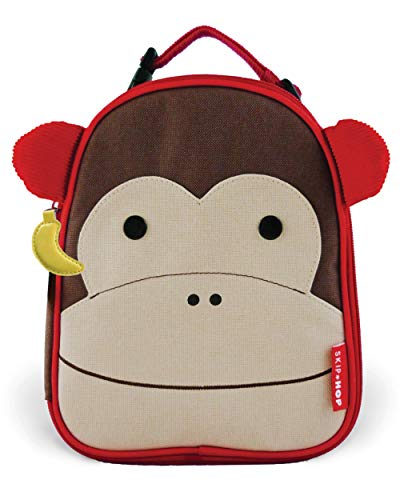 Skip Hop Zoo Kids Insulated Lunch Box, Marshall Monkey, Brown