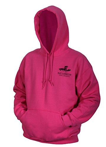 (Grundens ELHS Eat Lobster Hooded Sweatshirt, Pink/ Black Logo - M)