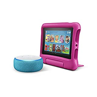 All-New Echo Dot Kids Edition, Blue with Fire 7 Kids Edition Tablet, Pink
