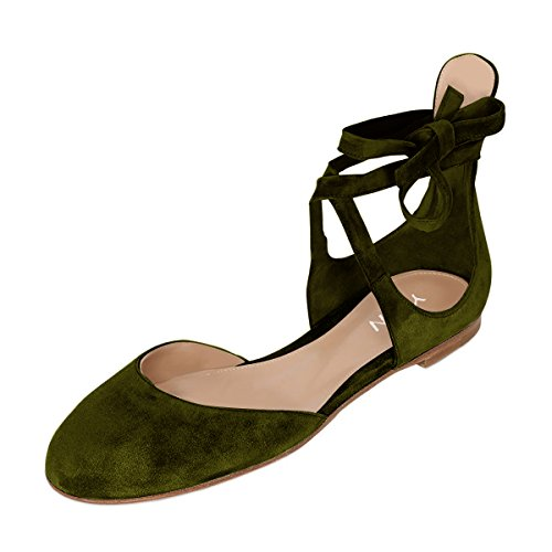 discount codes really cheap YDN Womens Casual Round Toe Ballet Flats Lace-up Suede Pumps Low Heels Walking Shoes Olive discount the cheapest clearance great deals cheap price wholesale price jg4cctckfd