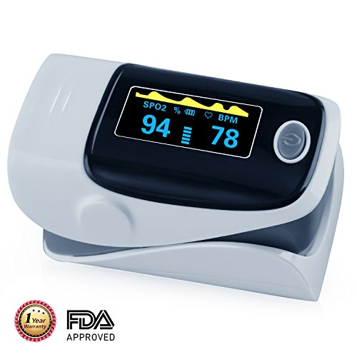Finger Pulse Oximeter Portable FDA Approved Digital Blood Oxygen and Pulse Sensor Meter with Alarm SPO2 For Adults and Children (Gray)