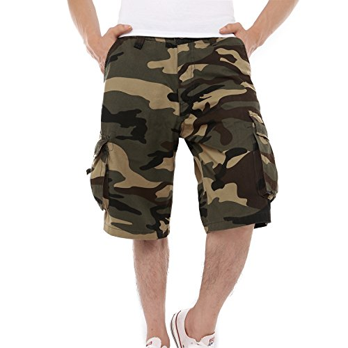 Just No Logo Men's Cotton Loose Fit Camouflage Camo Cargo Shorts(Woodland Camo,US W32/Tag Size W34) Loose Fit Camo