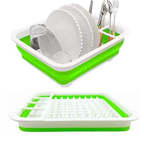 Collapsible Drying Rack Set Dish Storage, Portable Dinnerware Organizer for Camper RV Caravan Travel Trailer Small Kitchen - Space Saving (Green)
